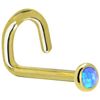Solid 14KT Yellow Gold 2mm Blue Synthetic Opal Left Nostril Screw - 18 Gauge | Body Candy Body Jewelry