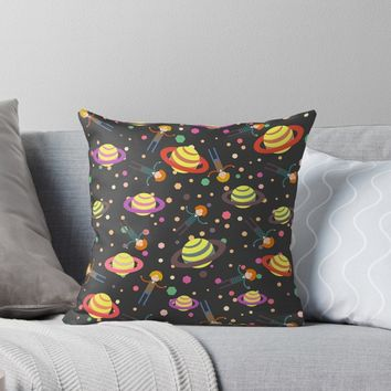 'Planets and dreamers' Throw Pillow by cocodes