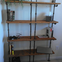 Reclaimed Barn Wood and Black Iron Pipe Bookcase