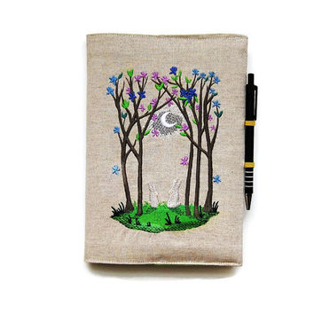 A5 notebook and pen, gift set, reusable notebook or journal cover, embroidered linen Spring woodland moonlight scene two rabbits in the snow