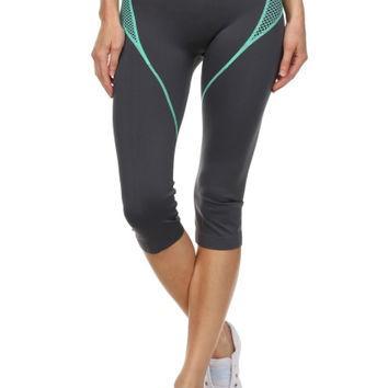 Cropped Yoga Leggings W/ Contrast Color Panels