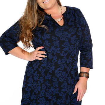 Navy Quarter Sleeves Filigree Print Plus Size Party Dress
