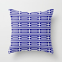 flag of greece 2-Greece,flag of greece,greek,Athens,Thessaloniki,Patras,philosophy,theater,tragedy Throw Pillow by oldking