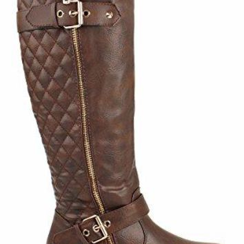 Forever Mango-21 Women's Winkle Back Shaft Side Zip Knee High Flat Riding Boots Brown 6