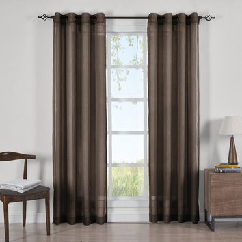 CHOCOLATE Abri Grommet Crushed Sheer Curtain Panels (Two Panels )