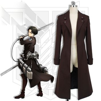 Cool Attack on Titan [STOCK]Anime  Tsubasa Figure Levi Ackerman Trench Coat Jacket Only   2018 New   AT_90_11