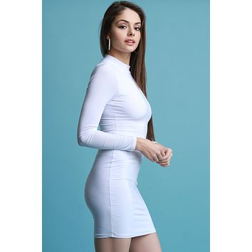 Mock Neck Long Sleeves Bodycon Dress