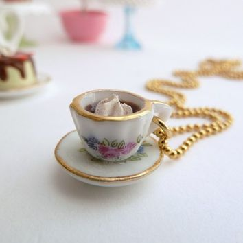 Alice In Wonderland Necklace miniature cup of coffee Charm with whipped cream fake cupcake white frosting time for tea party birthday girls