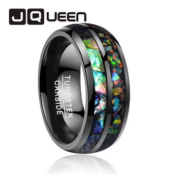 2018 newest 8mm wide electroplated black inlaid shells Opal dome tungsten steel ring for wedding gift rings free shipping