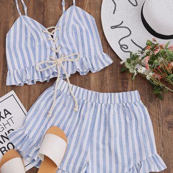 SHEIN 2018 Women Summer Two Piece Set Blue Striped Sleeveless Lace Up Smocked Crop Cami and Ruffle Shorts Co-Ord
