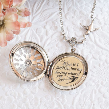What if I fall? Oh, but my darling, what if you fly? Silver Quote Necklace Graduation Gift College Gift Leaving Home Inspirational Jewelry