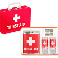 THIRST AID KIT - Flask & Shot Glasses
