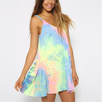 Women's Boho Summer Sleeveless Party Mini Dress Beach Sundress
