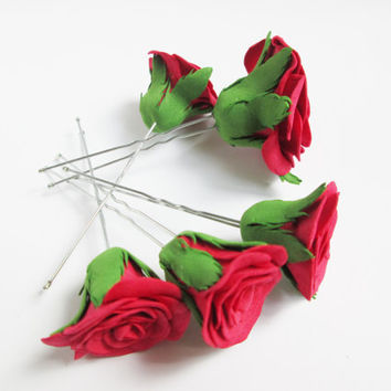 Flower pins Red pins Flower hair pins Rose hair clip Wedding hair Red bride Flower hair Bridesmaids jewelry Bobby pin flowers Rustic bride