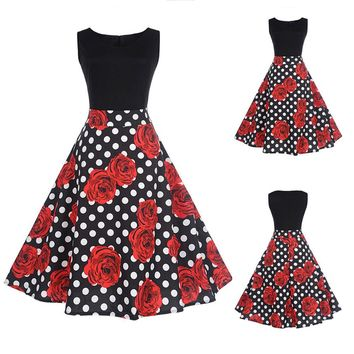 Women Rose Floral Elegant Sleeveless Vintage Tea Hepburn Dress Ball Gown