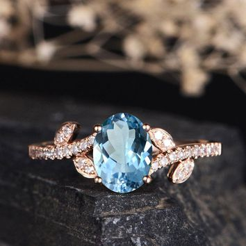 Blue topaz Engagement Ring Oval Cut Solitaire Leaf Vine Band Chevron March Birthstone