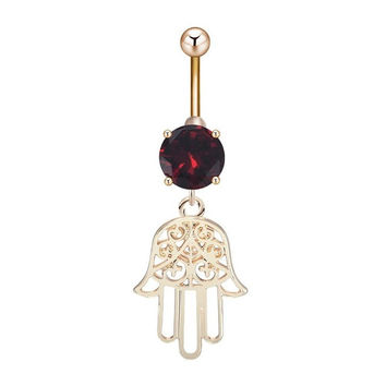 Unique Pendant Belly Navel Ring Personalized Fashion Fatima Hand Hamsa Belly Button Ring for Women Body Piercing Jewelry Bijoux -03130