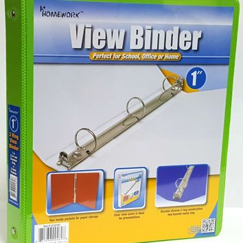 "1"""" View Pocket Binder - Lime Green Case Pack 12"
