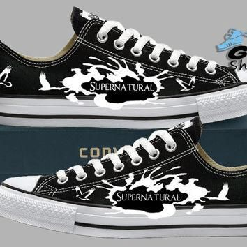 Hand Painted Converse Lo Sneakers. Supernatural. Sam, Dean, Castiel. Handpainted shoes