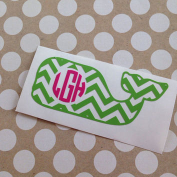 Vineyard Vines Inspired Whale | Sticker | Preppy | Southern | Whale | Monogram | Custom | Personalized | Vinyl Decal | Prep