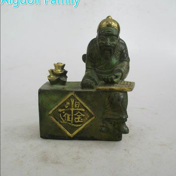 AAA+Rare Chinese Old Bronze Carved Wealth old man Sculpture /Art Statue Craft For Home Decoration Antique Collection