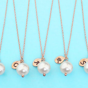 Set of 5-10, Personalized, Letter, Initial, 10mm white pearl, Pink gold chain, Necklace, Wedding, Bridesmaid, Bridal, Gift, Jewelry sets