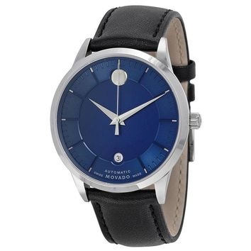 Movado 1881 Automatic Blue Dial Black Leather Band Mens Watch 0606874