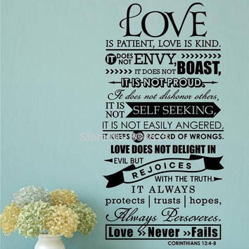 Bible Wall Stickers -  Love Is Patient Scripture Decal