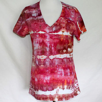 Dyed Womens Shirt in Red, Pink, and Brown, Junior Size 2XL, Womens Tie Dye T-Shirt XL, Hand-dyed Top
