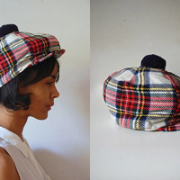 Vtg Plaid Hunting Style Pom Pom Hand Tailored Wool Hat