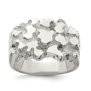 925 Sterling Silver Men's Nugget Ring
