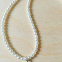 Long Pearl Necklace - Silver Heart Pendant