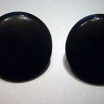 Vintage costume black plastic button earrings clip ons Japan 1960s jewelry