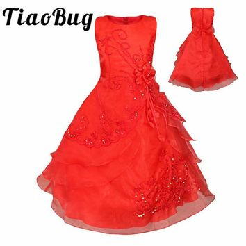 4-14Y Hot Selling Girls Flower Girls Dress Kids Pageant Party Ball Gown Prom Princess Formal Occassion Floral Dress 12 Colors