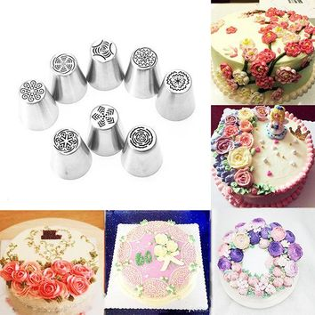 8pcs DIY Flower Pastry Cake Icing Piping Nozzles Decorating Tips Baking Tools Cupcake Bakeware