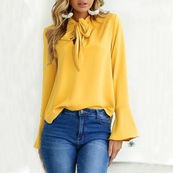 2018 New Casual Chiffon Blouse Shirt Yellow Pink Black Office Women color bow Long sleeves Blouse Tops