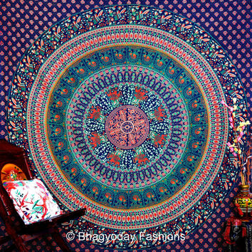 Blue Hippie Tapestries, Tapestry Wall Hanging, Mandala Tapestries, Mandala Wall Art, Hippie Wall Hanging, Indian Tapestry, Bohemian Tapestry