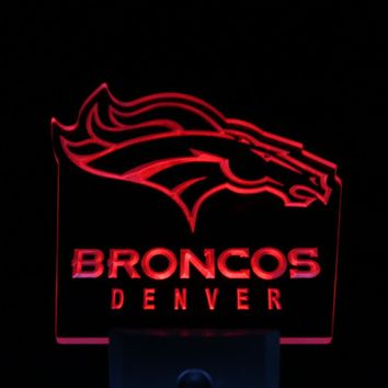 ws0053 Denver Broncos Bar Pub Logo Day/ Night Sensor Led Night Light Sign