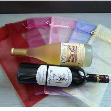 10Pcs Sheer Organza Wine Bottle Gift Bags Cover For Party Wedding Favor HU