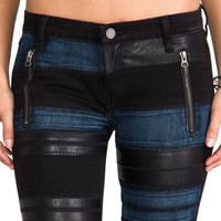 BLANKNYC Black Denim Pant with Leather and Blue Panels in AMT