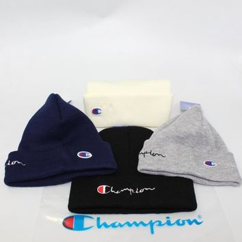 Champion Knit Double Sided Alphabet Embroidery Winter Hats [429893222436]
