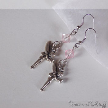 Dangle earrings - drop earrings - Tinkerbell earrings - Fairy earrings - silver tone earrings - pink earrings - romantic earrings
