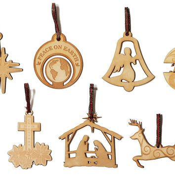 Set of 8 Laser Engraved Wooden Christmas Tree Ornament Gift Seasonal Decoration