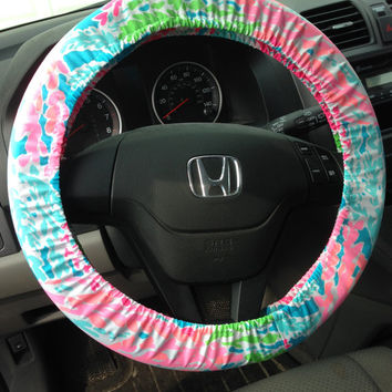 Steering Wheel Cover made with Lilly Pulitzer Let's Cha Cha fabric