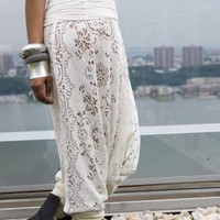 CREAM LACE HAMMER PANTS by Monica?Wontorski | UsTrendy