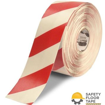 """4"""" White Tape with Red Chevrons - 100'  Roll"""