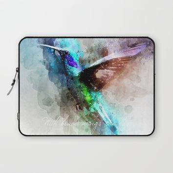 With brave wings she flies inspirational quote watercolor hummingbird motivational saying bird print Laptop Sleeve by igalaxy