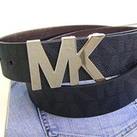 MICHAEL Michael Kors Signature Belt with MK Logo Plaque (L, MK Logo Plaque(Black))