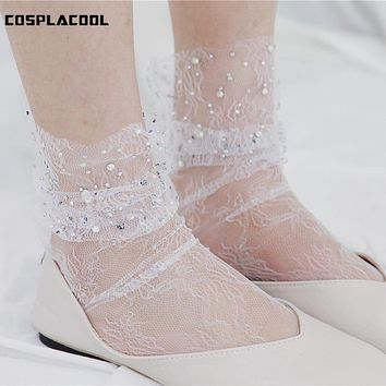 [COSPLACOOL]New Shiny Transparent Brick Glitter Mesh Meias Sexy Pearl Socks Women Silk Female Harajuku Funny Calcetines Elastic