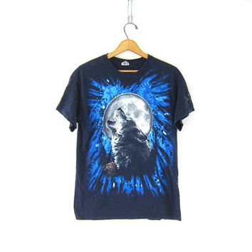 Vintage blue Howling WOLF and moon TShirt. Grunge Shirt. Coyote Native American Tee Shirt. urban Grunge Hipster